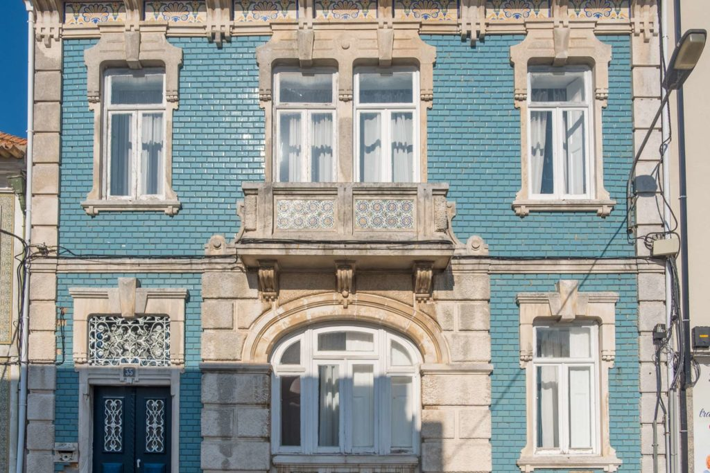 Our Airbnb in Aveiro from outside with pretty blue tiles