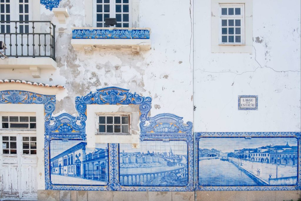 Aveiro train station with tiled scenes of Aveiro