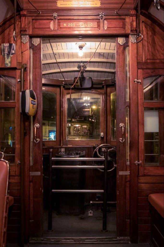 Beautiful wooden interior of old tram on line 1