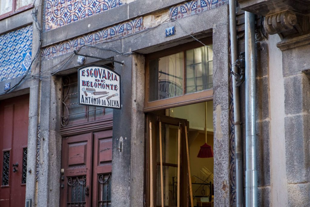 Brush shop on a side street in Porto