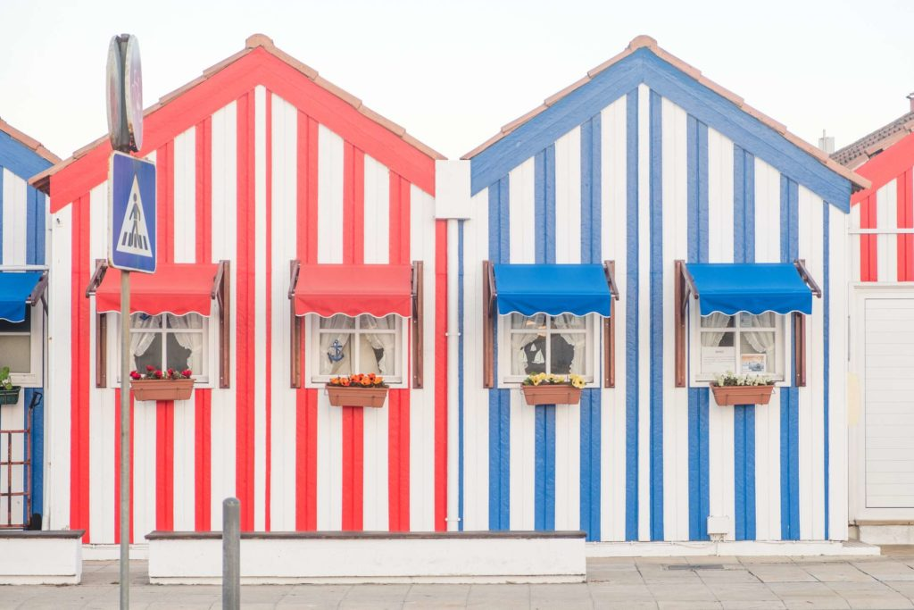 Candy striped houses in Costa Nova