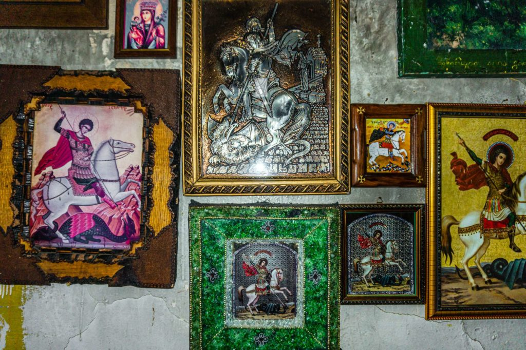 Closeup of Orthodox art hanging in Tsveri church