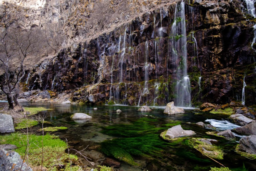 Dashbashi waterfalls with green mossy water