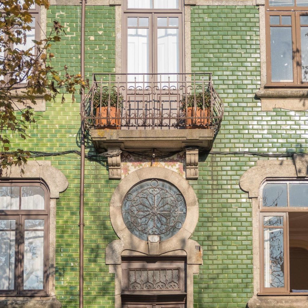 House with green tiles in Porto