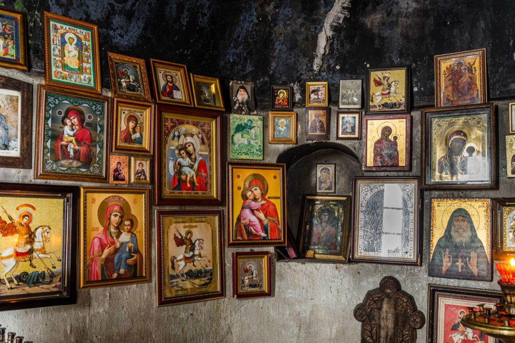 Orthodox art hanging in Tsveri church