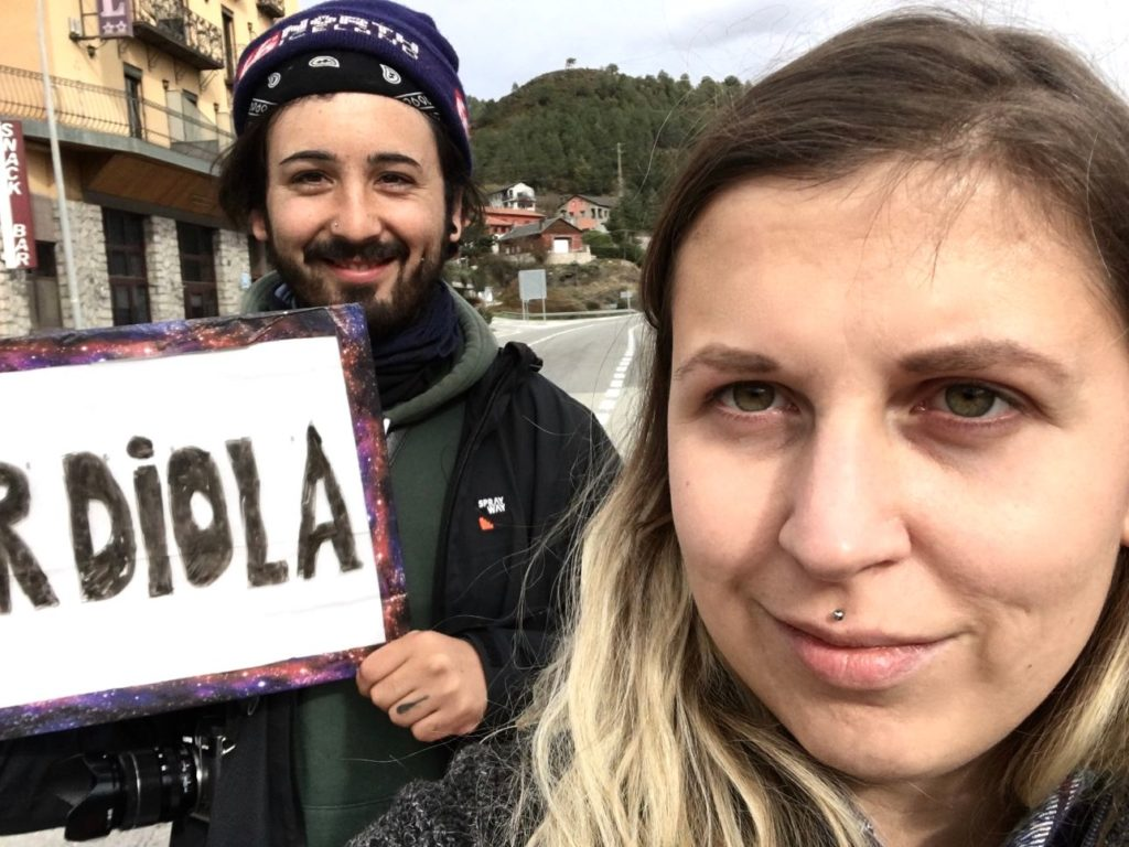 Selfie of us hitchhiking to Guardiola in Catalonia