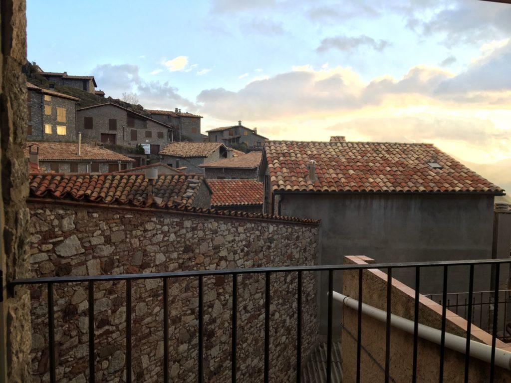Sunset from Castellar de n'Hug room in Catalonia
