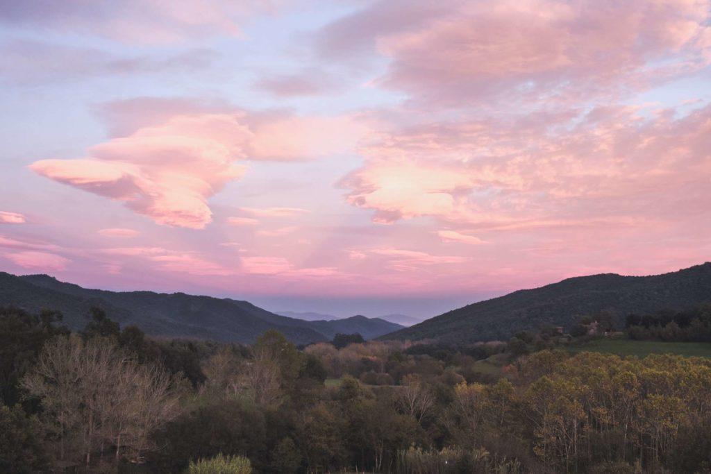 Beautiful pink sunset from Santa Pau, Catalonia