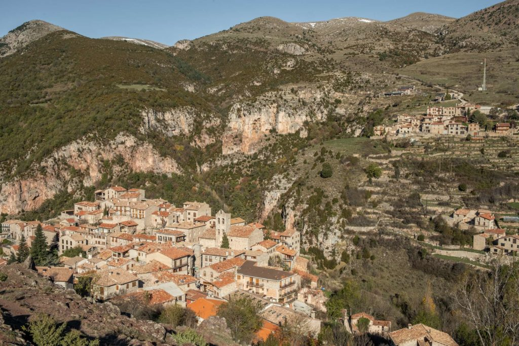 View over Castellar de n'Hug and the surrounding mountains