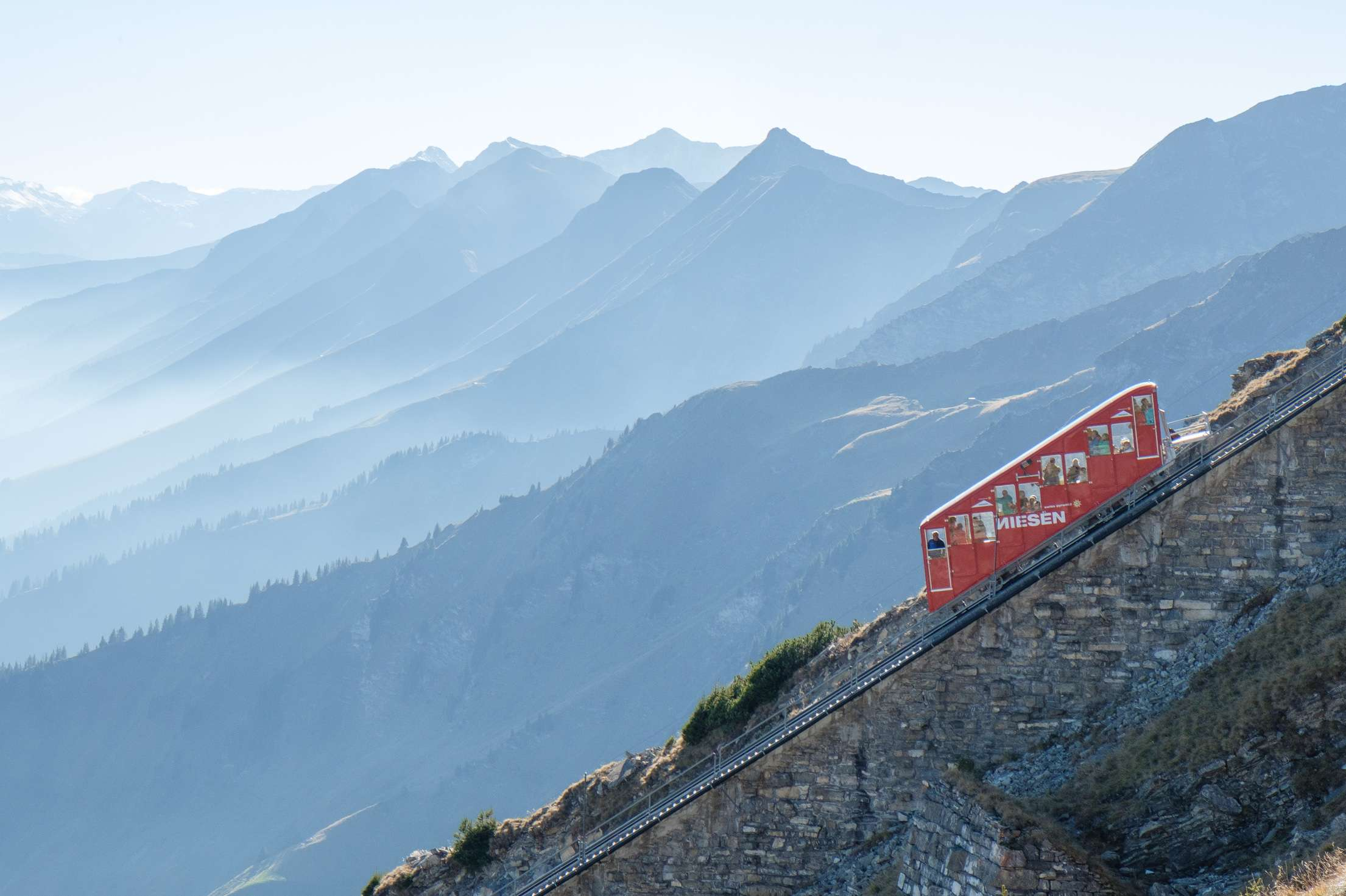 The Niesenbahn with mountain slopes in the background