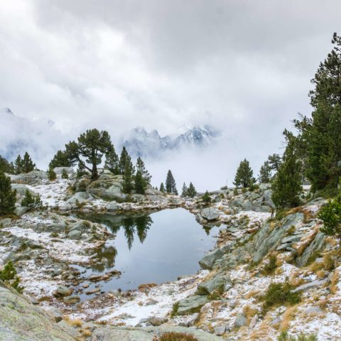A small alpine lake in Aigüestortes i Estany of Saint Maurici national park lake reflecting trees, cloudy mountains in background