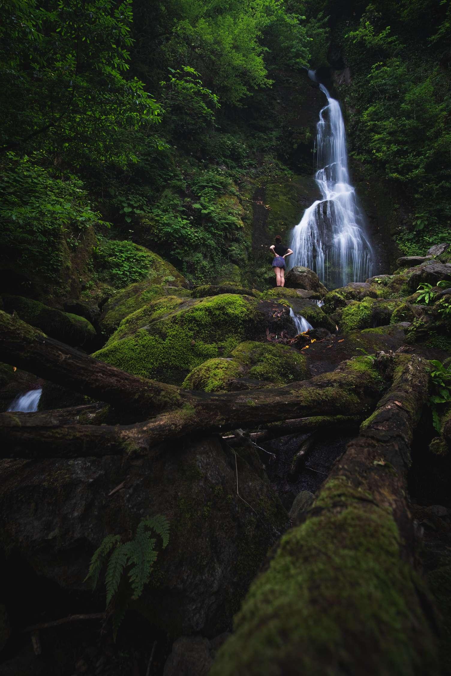 Caroline in front of Tsalbnari waterfall in Mtirala National Park