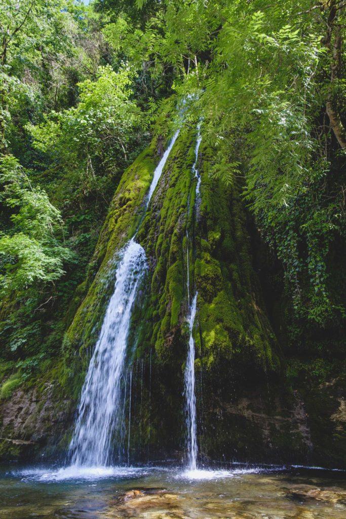 Full shot of Kaghu waterfall (კაღუს ჩანჩქერი) on Abasha river