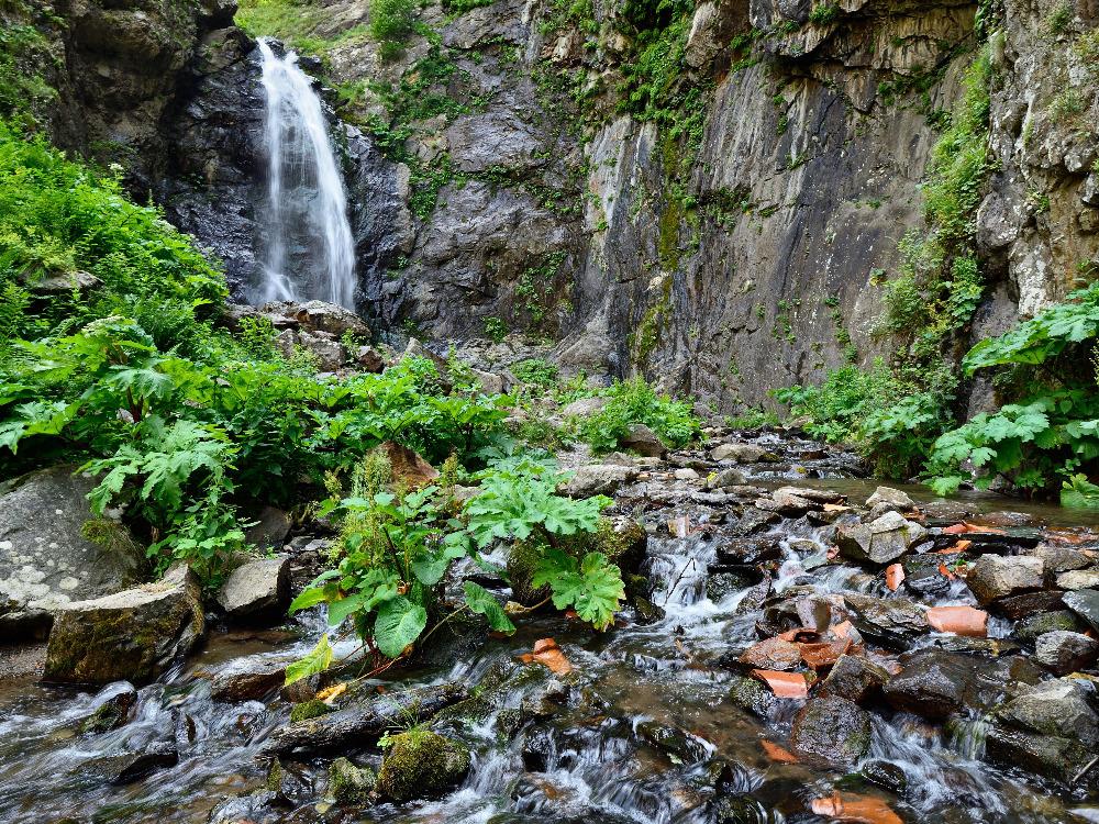 Small Gveleti waterfall in Kazbegi